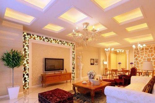 电视墙巧搭壁纸 打造时尚客厅