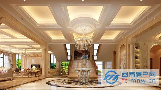 大会客厅、大餐厅、保姆房、衣帽区,4间卧室、起居厅、健身区、影视厅、酒窖、储物间……可以说,在家庭装修中所能想到的功能应有尽有。而本案的亮点就在于,设计师恰到好处地将客户的基本功能需求结合到设计中来,并竭力使空间尽显开阔大气。大面使用落地设计,将室外风光纳入室内,一览无遗。弧线的运用使空间摒弃欧式的繁复感,令空间活跃生动起来。
