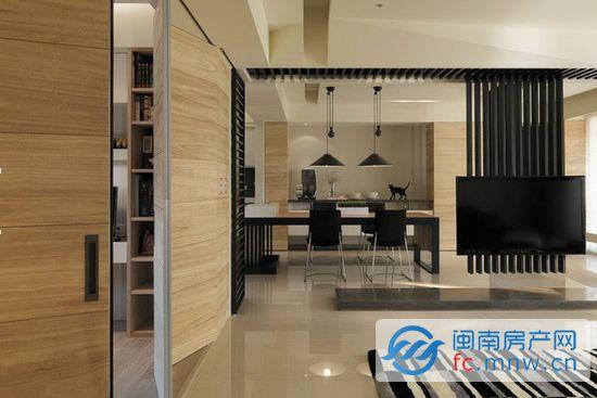 一墙之隔 客厅与书房隔断独立效果图高清图片