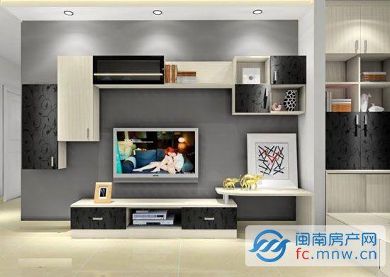 客厅电视柜背景墙 集收纳和装饰于一体